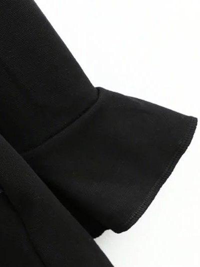 Frilled V Back Long Sleeve Romper - BLACK L Mobile