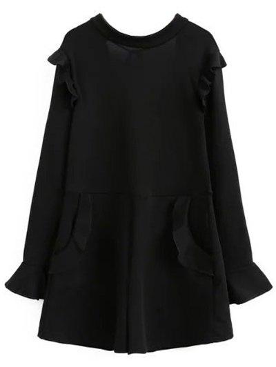 Frilled V Back Long Sleeve Romper - BLACK M Mobile