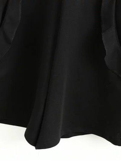 Frilled V Back Long Sleeve Romper - BLACK S Mobile
