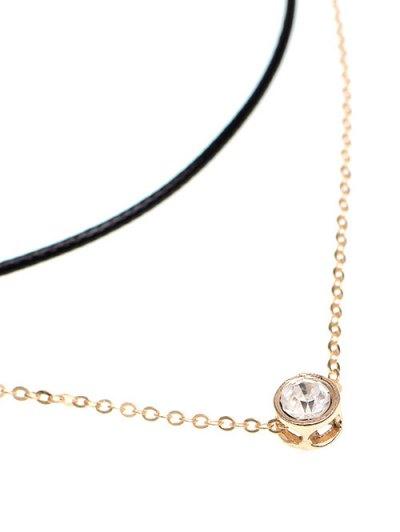 Layered Rhinestone Bar Necklace - GOLDEN  Mobile