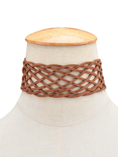 PU Leather Braid Choker Necklace - BROWN  Mobile