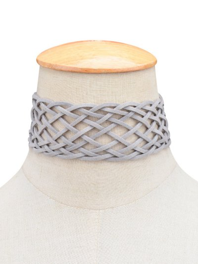 PU Leather Braid Choker Necklace - GRAY  Mobile