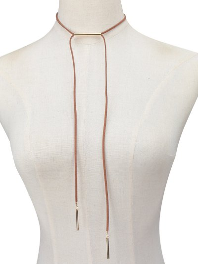 Faux Leather Rope Bar Choker Necklace - BROWN  Mobile