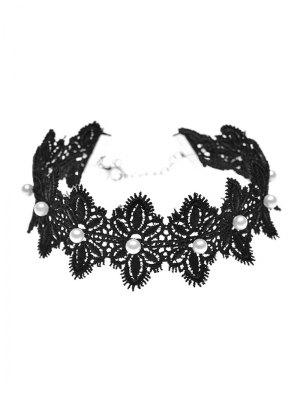 Faux Pearl Lace Flower Choker Necklace - Black