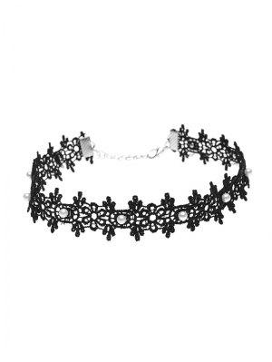 Lace Artificial Pearl Floral Choker Necklace - Black