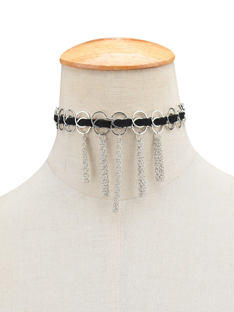 Faux Leather Circle Fringed Choker NecklaceAccessories<br><br><br>Color: SILVER