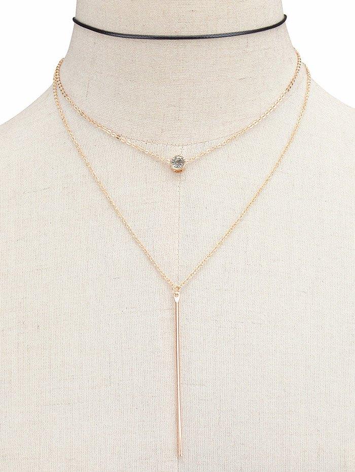 Rhinestone Layered Bar Necklace