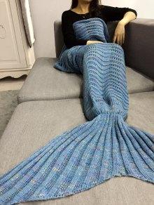 بطانية ميرميد قطع محبوك مخطط - الضوء الأزرق