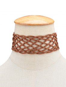PU Leather Braid Choker Necklace