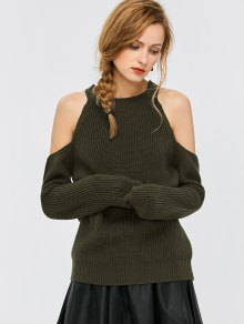 Cold Shoulder Crew Neck Ribbed Sweater - Army Green M