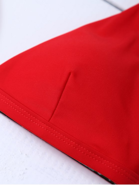 Low Waisted Spaghetti Strap Bikini Set - RED XL Mobile