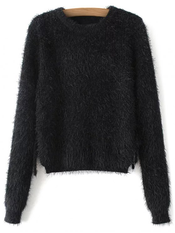 Cropped Fuzzy Lace Up Sweater - BLACK M Mobile