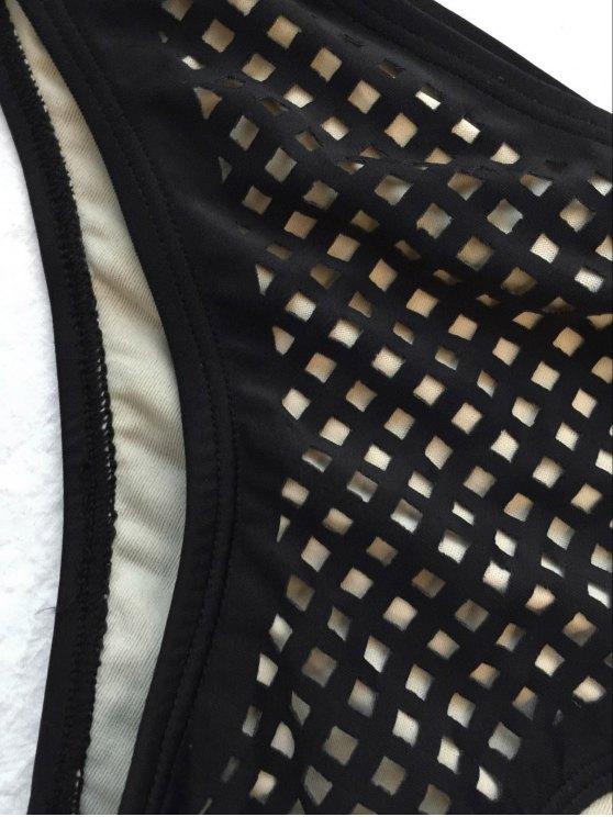 Square Laser Cut Bikini Top and Bottoms - BLACK L Mobile