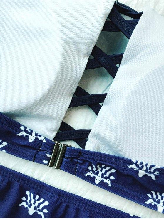 Crisscross High Neck Bikini - PURPLISH BLUE L Mobile