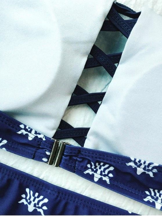 Crisscross High Neck Bikini - PURPLISH BLUE M Mobile