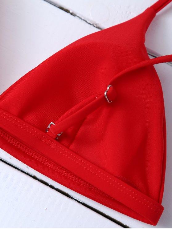 Low Waisted Spaghetti Strap Bikini Swimwear - RED M Mobile
