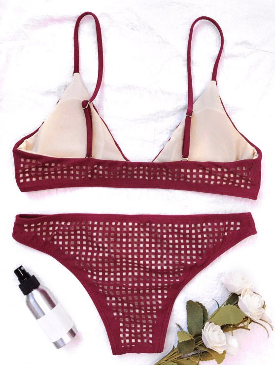 Square Laser Cut Bikini Top and Bottoms - BURGUNDY S Mobile