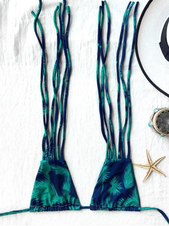 Feather Print Strappy Plunge Bikini Set - BLUE AND GREEN S Mobile