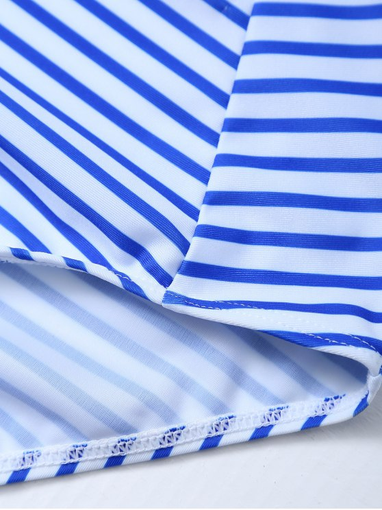 Striped Lace Up Swimwear - STRIPE L Mobile