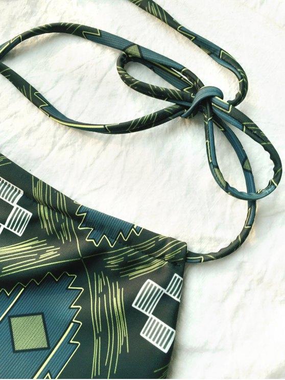 Tile Print High Neck Bikini - OLIVE GREEN XL Mobile
