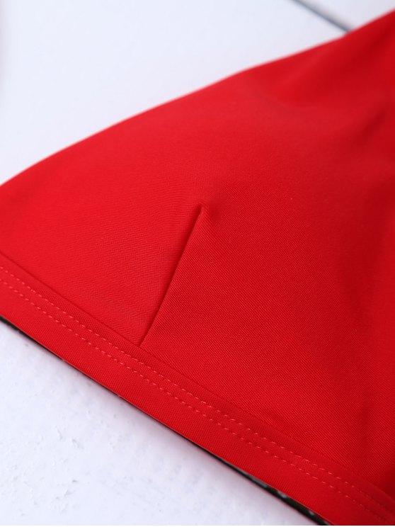 Low Waisted Spaghetti Strap Bikini Swimwear - RED L Mobile