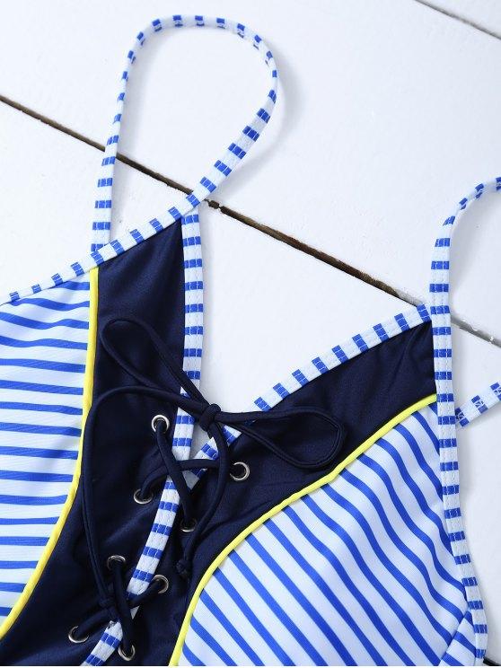 Striped Lace Up Swimwear - STRIPE M Mobile