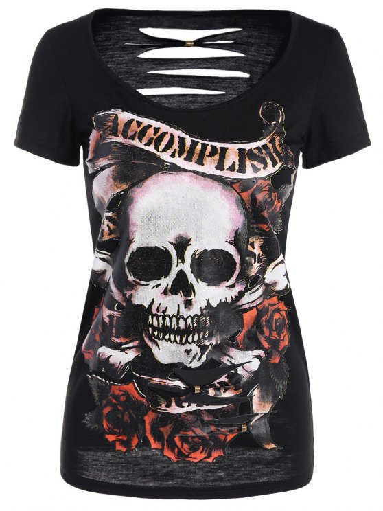 women Skull Pattern Ripped Halloween T-Shirt - BLACK L