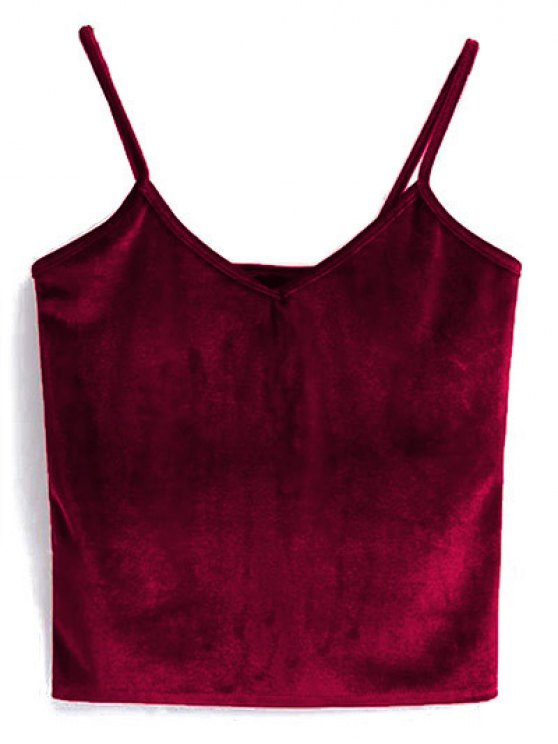 womens Velvet Cropped Cami Top - RED ONE SIZE