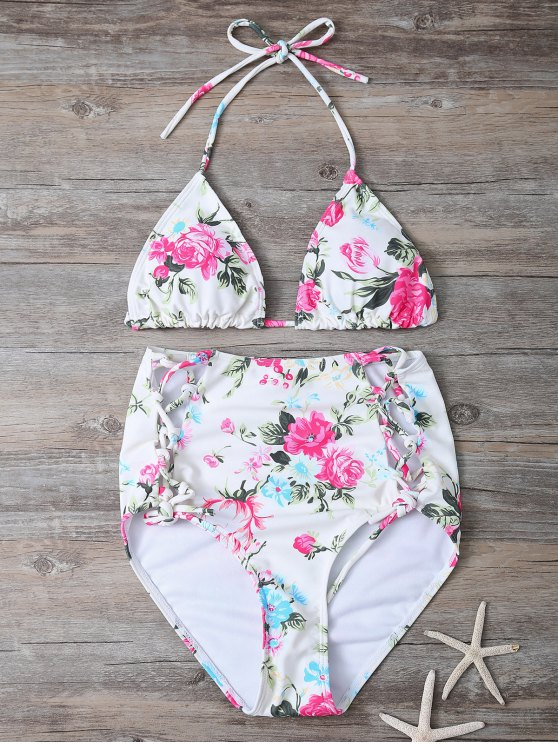 Floral Lace-Up High Waisted Bikini Set - FLORAL S Mobile