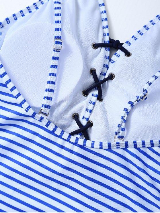 Striped Lace Up Swimwear - STRIPE S Mobile