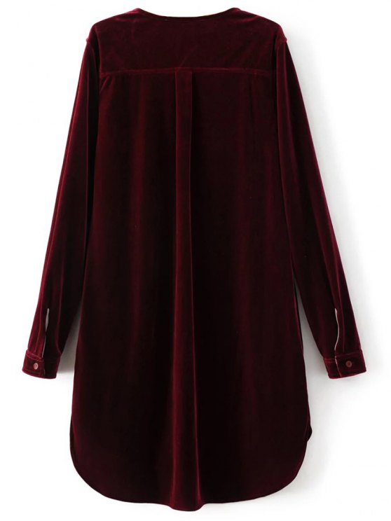 Split Neck Velvet Tunic Dress - BURGUNDY M Mobile