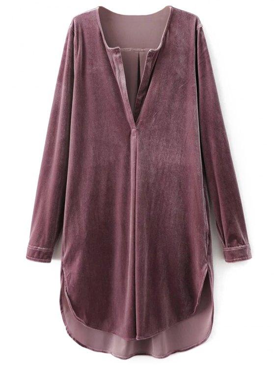 Dividir cuello vestido de la túnica de terciopelo - Rosa de humo S