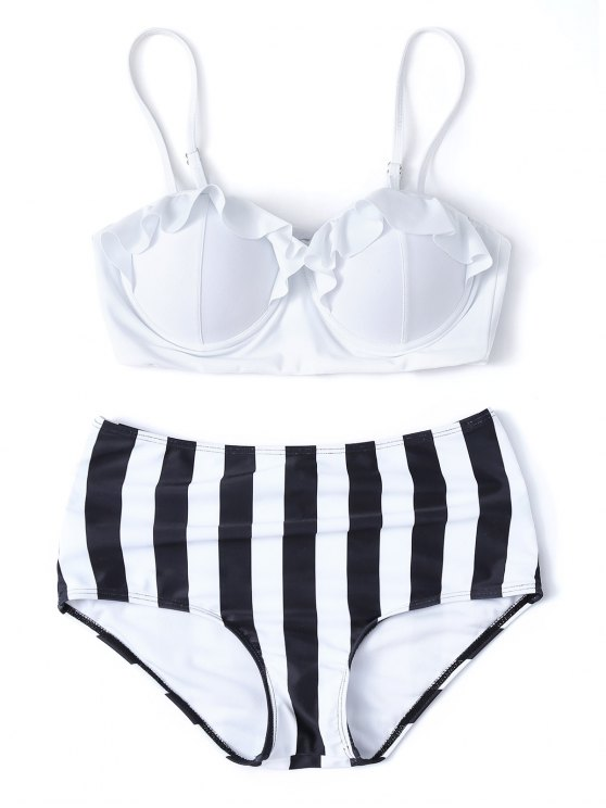 Striped High Waisted Underwired Bikini - WHITE L Mobile