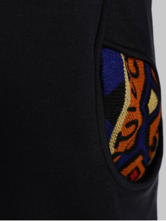 Half Zip Print Panel Hoodie - BLACK S Mobile