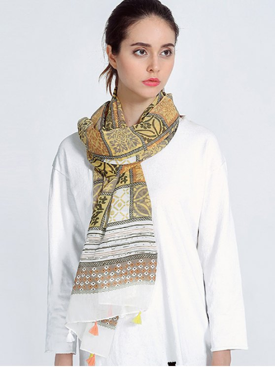 Bohemia Print Voile Scarf with Tassel Edge - LIGHT BROWN  Mobile