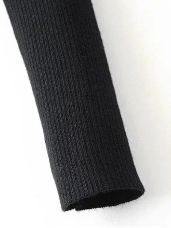 Banded Cold Shoulder Knitted Top - BLACK M Mobile