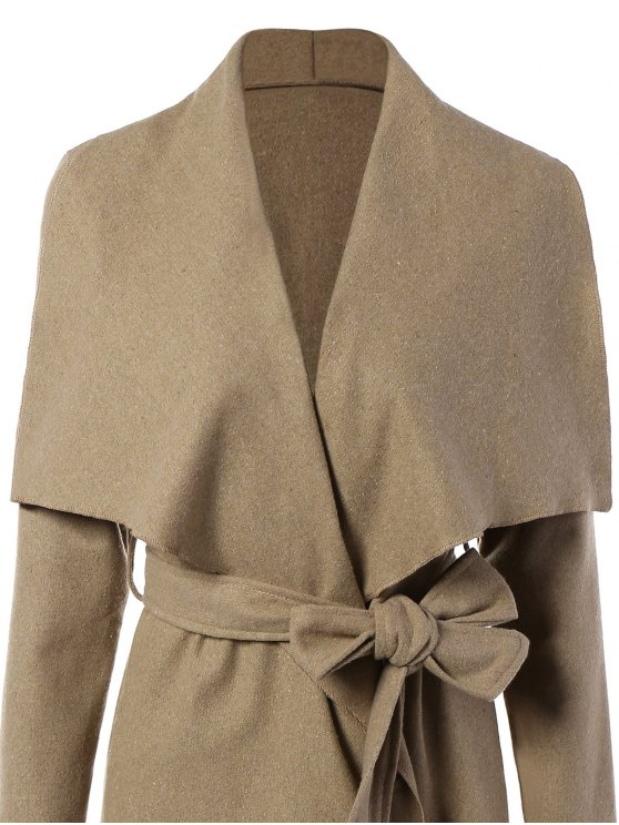 Tie Waist Shawl Collar Wrap Coat - CAMEL S Mobile