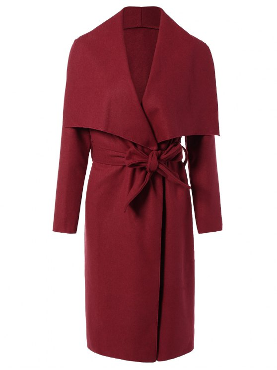 Tie Waist Shawl Collar Wrap Coat - RED M Mobile