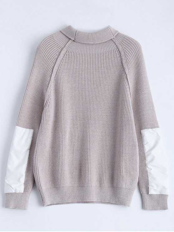 Patch Sleeve Chunky Sweater - SMASHING ONE SIZE Mobile