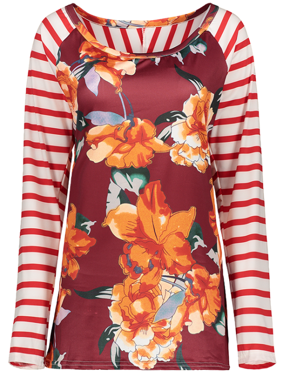 Stripes Panel Round Collar Flower Tee - RED XL Mobile
