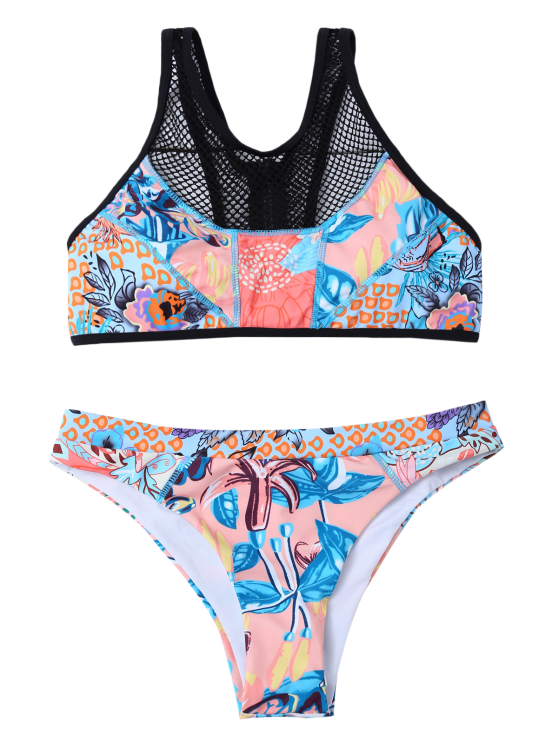 Printed Mesh Panel Bikini Set - BLUE S Mobile