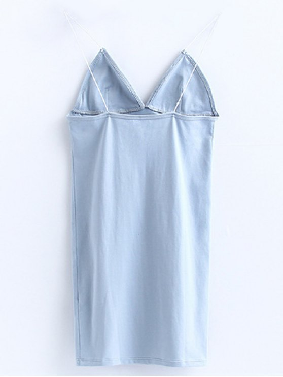 Elastic Spaghetti Strap Mini Bodycon Dress - LIGHT BLUE M Mobile