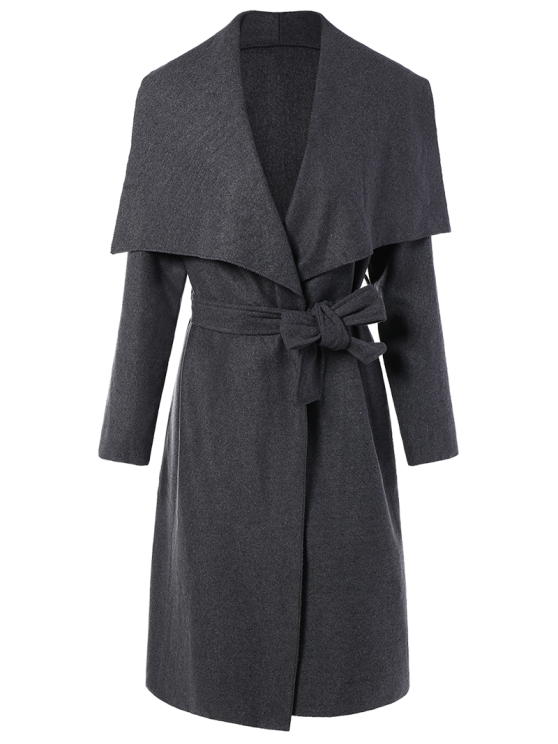 Tie Waist Shawl Collar Wrap Coat - GRAY S Mobile
