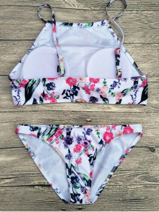 Floral Printed Spaghetti Strap Bikini Set - WHITE M Mobile