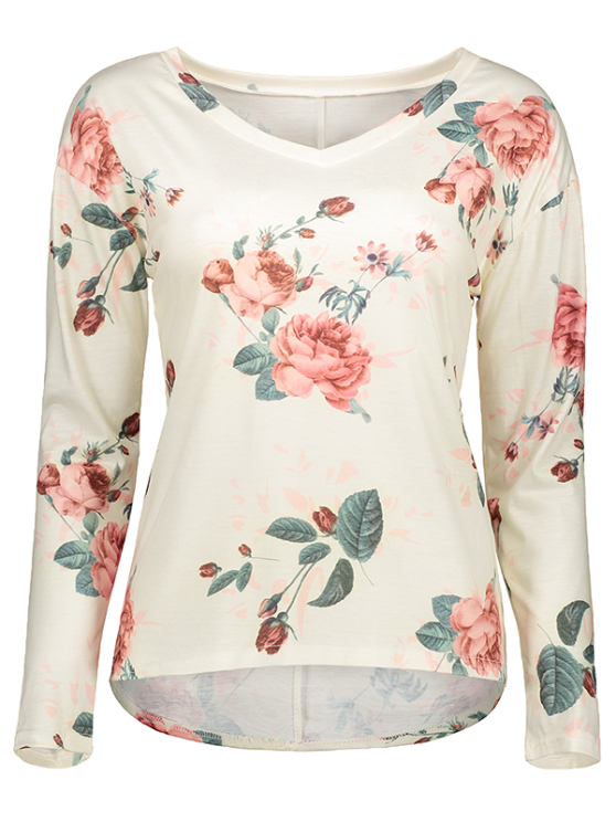 V Neck Long Sleeve Floral Tee - OFF-WHITE XL Mobile