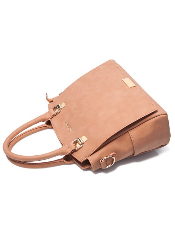 Double Pocket Zipper Faux Leather Tote Bag - PINKBEIGE  Mobile