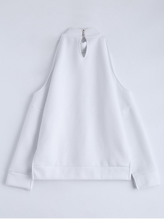 Cold Shoulder High Neck Sweatshirt - WHITE L Mobile