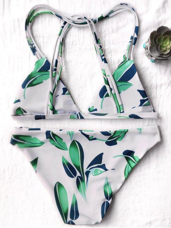 Strappy Leaf Print Plunge Bikini - WHITE M Mobile