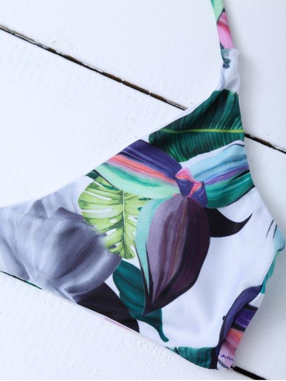 Halter Tropical Leaf Print Bikini - FLORAL L Mobile