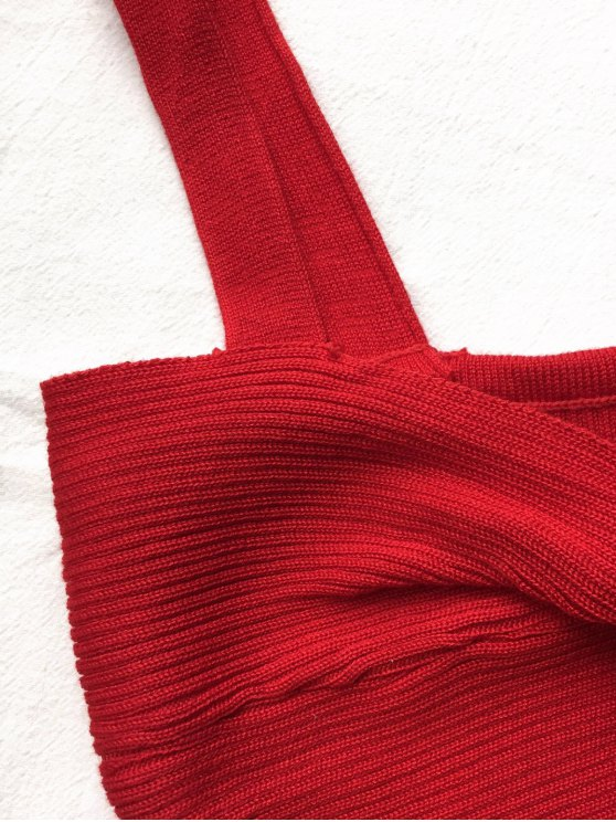 Front Twist Ribbed Tank Knitwear - RED ONE SIZE Mobile